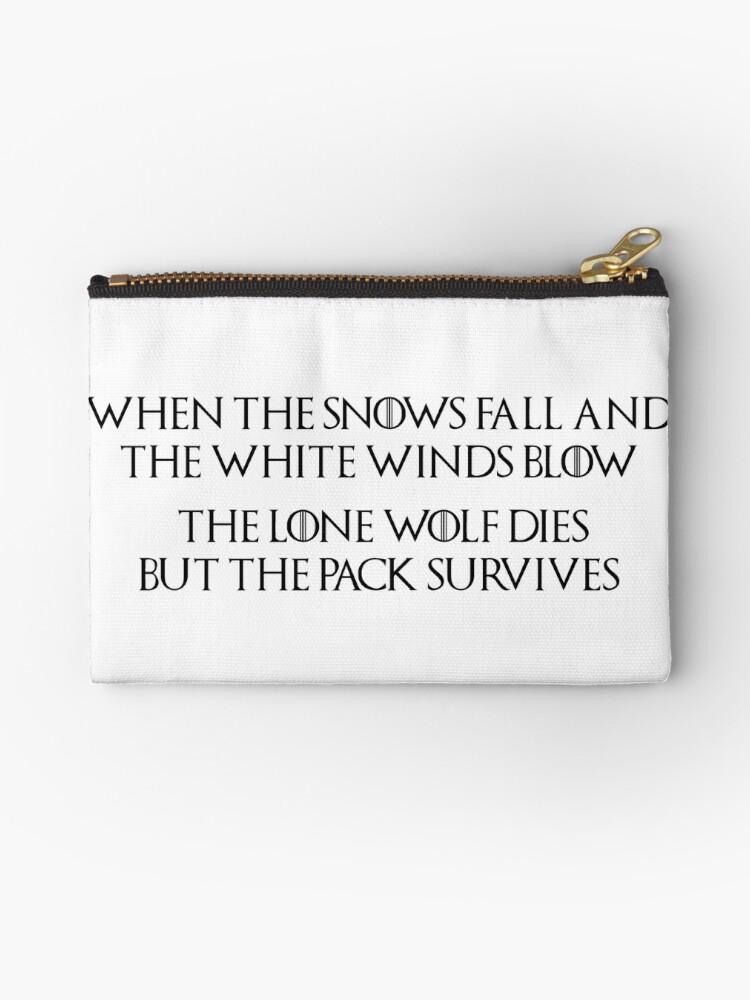 Pochette Game Of Thrones Maison Stark Loup Solitaire Citation Loup Dire Quand Les Neiges Tombent Et Que Les Vents Blancs Soufflent Le Loup