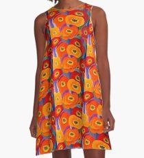 Happy Orange Poppies A-Line Dress