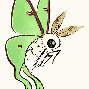 Fuzzy Cute Luna Moth by MaryCapaldi