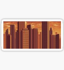 Pixel City at Sunset Sticker