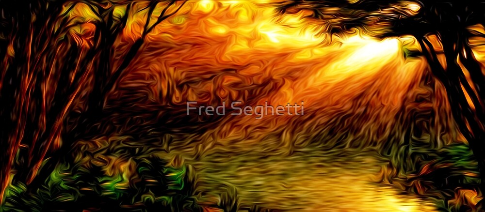 Sunrise Woods Oil Painting by Fred Seghetti