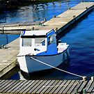Small white boat in the harbour, Charlottetown, PEI Canada by Shulie1