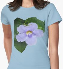 Blue Flower with Green Leaves Womens Fitted T-Shirt