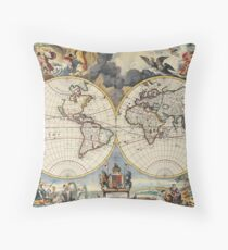 Double Hemisphere Map Moses Pitt c 1680 Throw Pillow