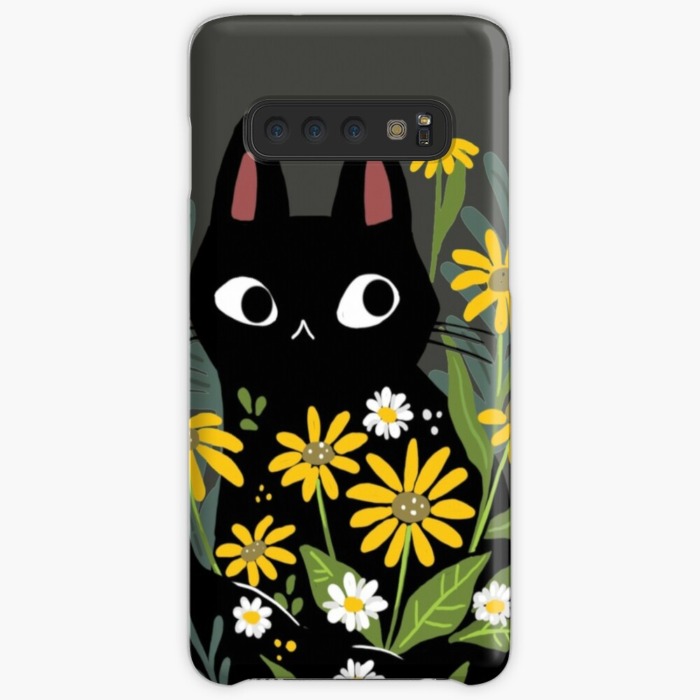 Black cat with flowers  Case & Skin for Samsung Galaxy
