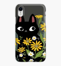 Black cat with flowers  iPhone XR Case
