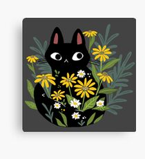 Black cat with flowers  Canvas Print