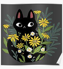Schwarze Katze mit Blumen Poster