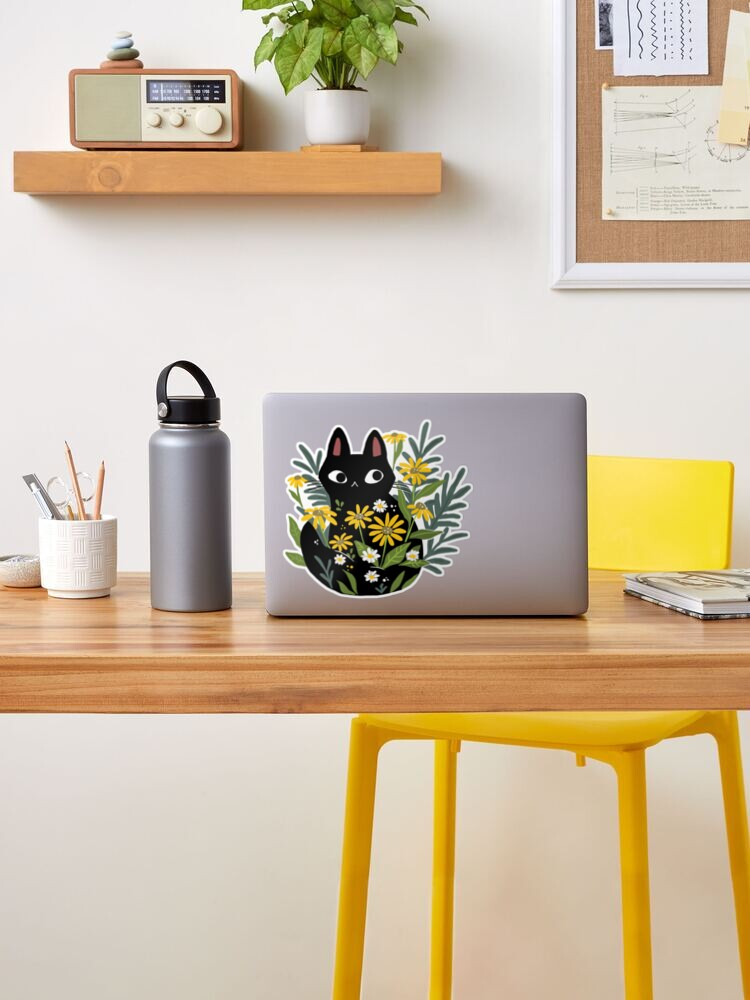 Alternate view of Black cat with flowers  Sticker