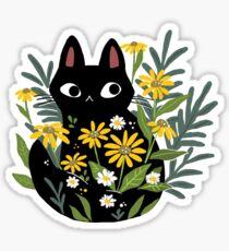Chat noir avec des fleurs Sticker