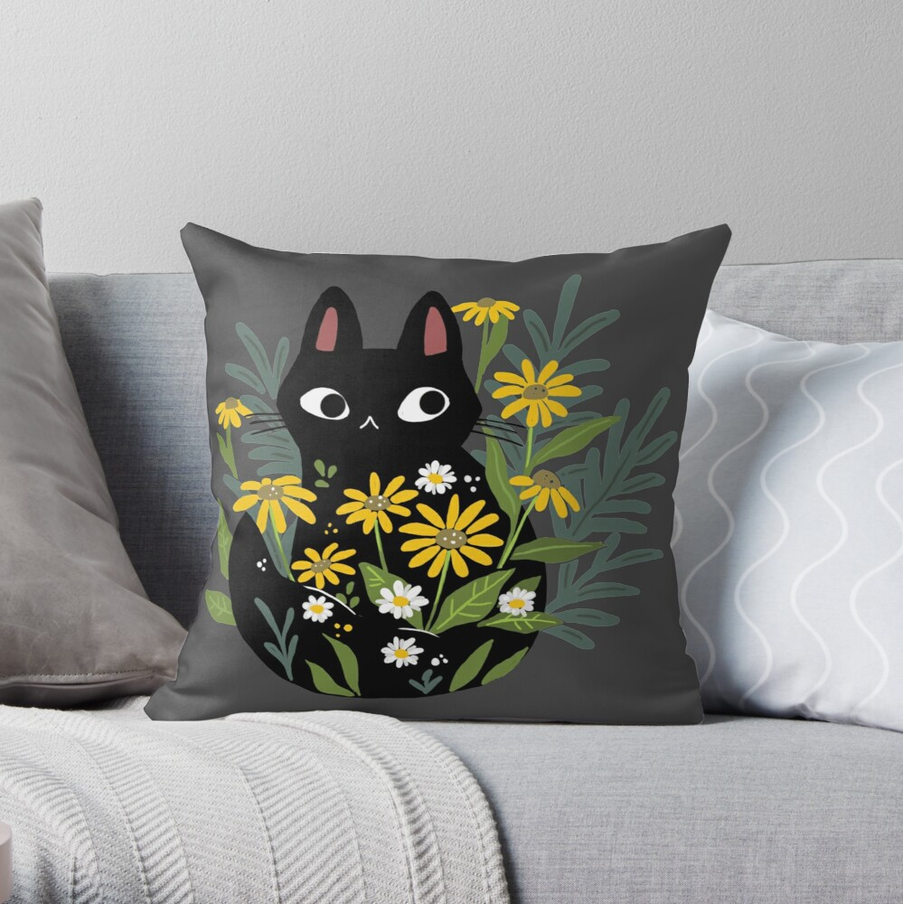 Black cat with flowers  Throw Pillow