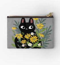 Black cat with flowers  Studio Pouch