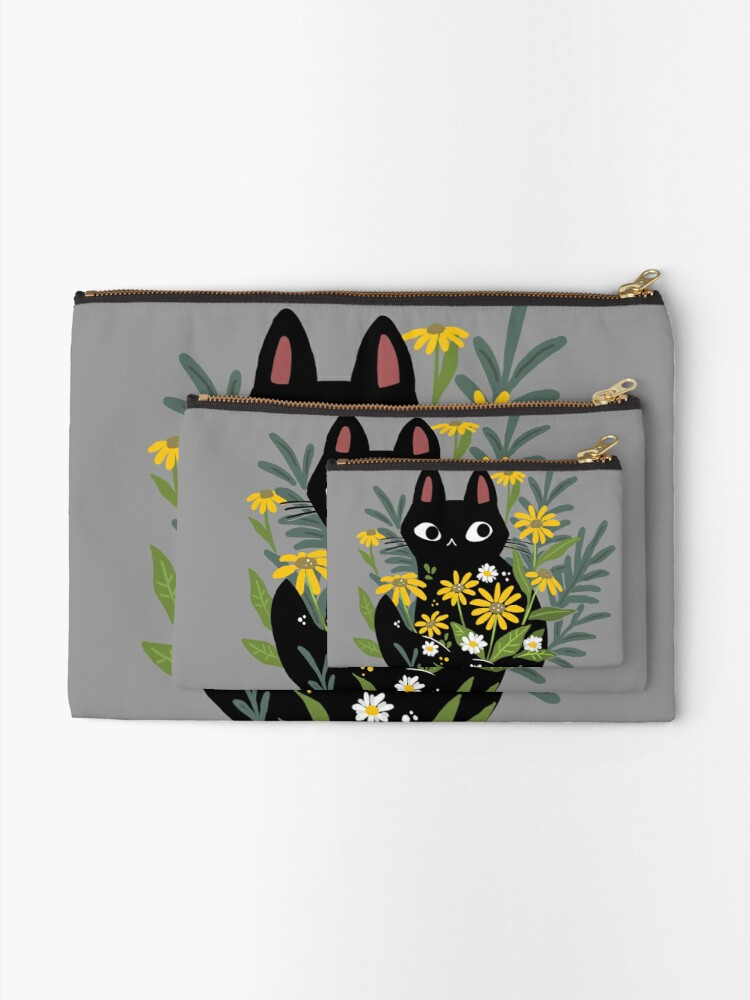Alternate view of Black cat with flowers  Zipper Pouch