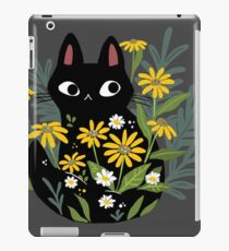 Black cat with flowers  iPad Case/Skin