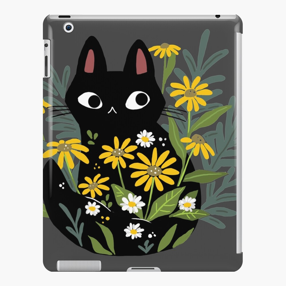 Black cat with flowers  iPad Case & Skin