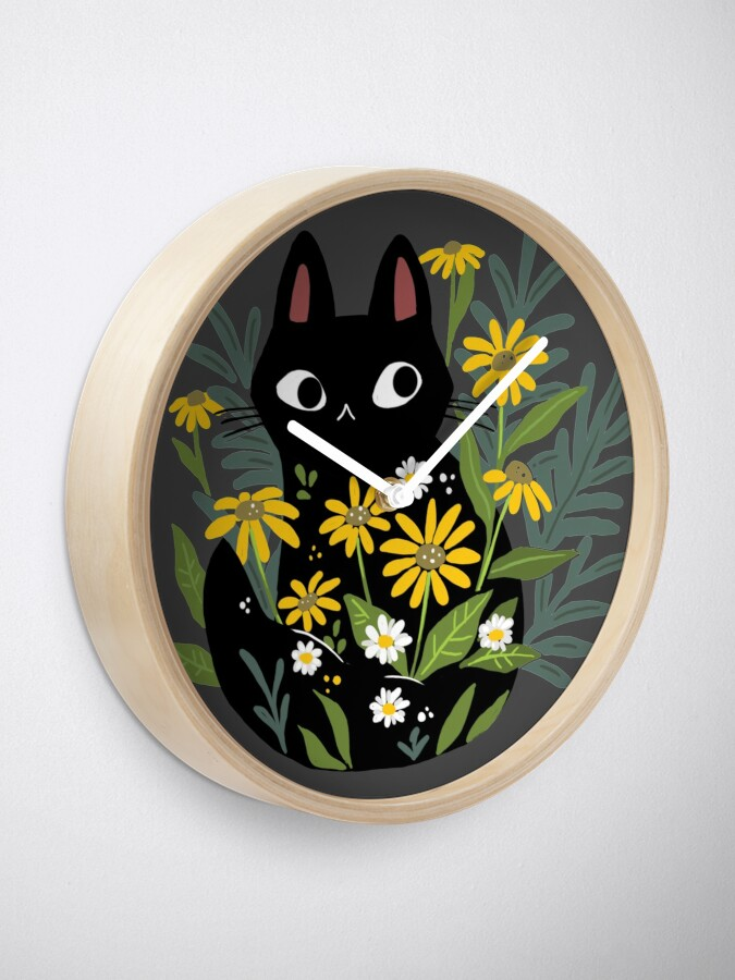Alternate view of Black cat with flowers  Clock
