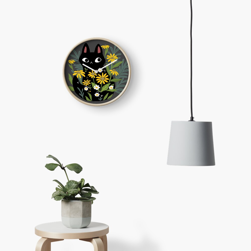 Black cat with flowers  Clock