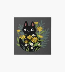 Black cat with flowers  Art Board