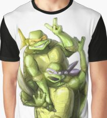 """Selfie!"" Teenage Mutant Ninja Turtles Digitally Colored Pencil Drawing Graphic T-Shirt"