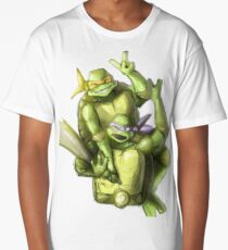 """Selfie!"" Teenage Mutant Ninja Turtles Digitally Colored Pencil Drawing Long T-Shirt"