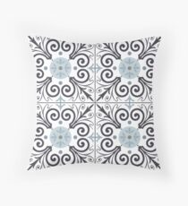 Portuguese tiles pattern. Vintage background. Vector seamless texture Throw Pillow