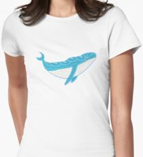 Smiling Whale in a deep blue sea Womens Fitted T-Shirt