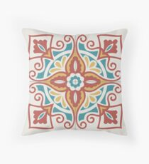 Portuguese tiles pattern. Vintage background - Victorian ceramic tile in vector Throw Pillow