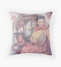 Chinese woman vintage pink China Throw Pillow