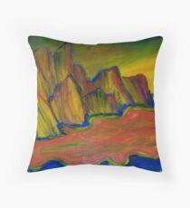 Vibrant Cliffs Finger Painted Painting MKART Throw Pillow