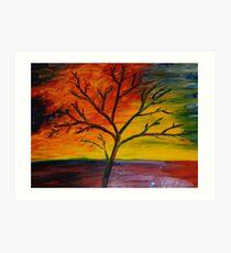Sunset Tree Finger Painted Painting MKART Art Print