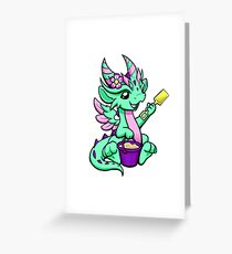 Green Dragon Playing in Sand Greeting Card