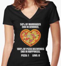 Pizza vs Love Women's Fitted V-Neck T-Shirt