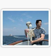 Zak with a skeleton on a boat Sticker