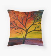 Sunset Tree Finger Painted Painting MKART Throw Pillow
