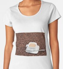 Coffee cup on coffee bean background Women's Premium T-Shirt