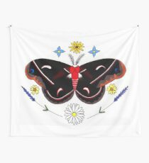 Cercopia Moth and Wildflowers Wall Tapestry