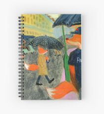 Rainy Day In Paris - Fox With Polka Dot Umbrella Spiral Notebook
