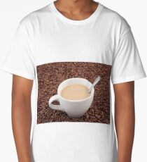 Coffee cup on coffee bean background Long T-Shirt