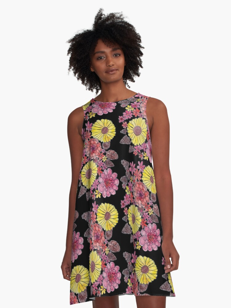 Fall Flowers (black background) A-Line Dress Front