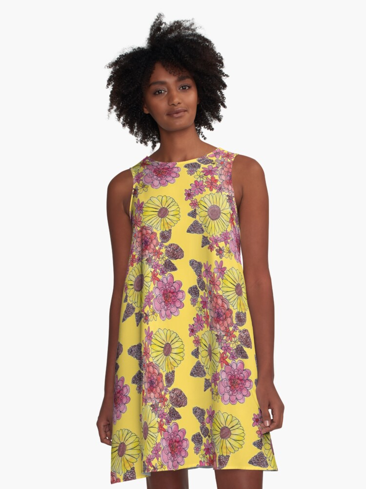 Fall Flowers (yellow background) A-Line Dress Front