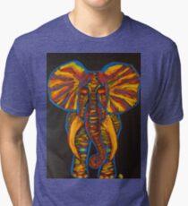 Rainbow Party Elephant Finger Painted MKART Tri-blend T-Shirt