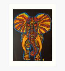 Rainbow Party Elephant Finger Painted MKART Art Print