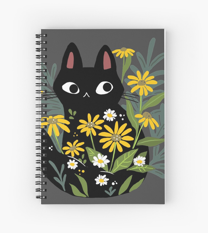 «Gato negro con flores» de michelledraws
