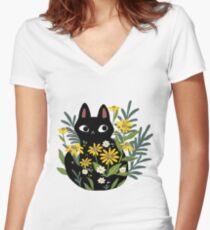Schwarze Katze mit Blumen Shirt mit V-Ausschnitt
