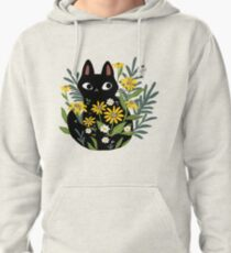 Black cat with flowers  Pullover Hoodie