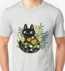 Black cat with flowers  Unisex T-Shirt