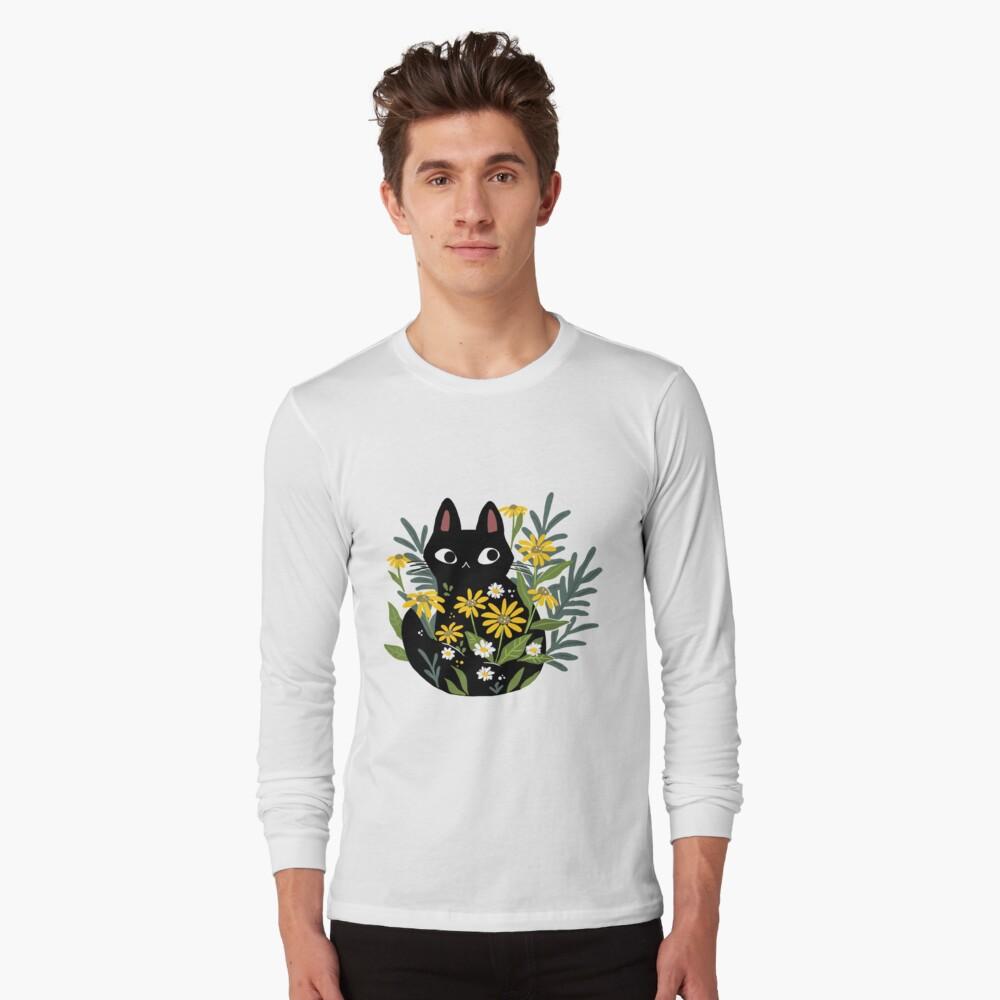 Gato negro con flores Camiseta de manga larga