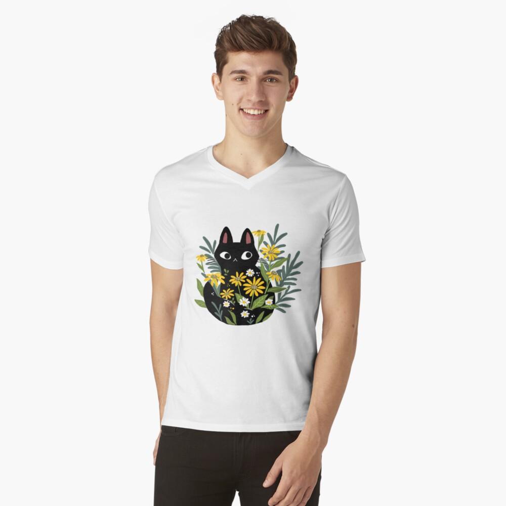 Gato negro con flores Camiseta de cuello en V