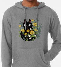 Schwarze Katze mit Blumen Leichter Hoodie