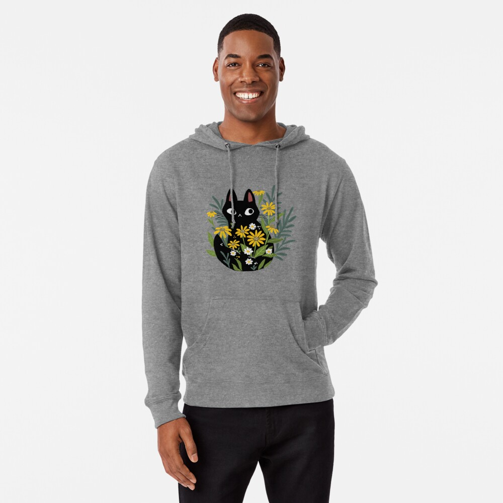Black cat with flowers  Lightweight Hoodie